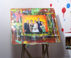 Easel with portrait