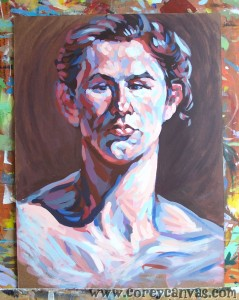 And here we have a no-yellow painting. Purple! Colour theory! And a juiced-up neck! Distortion is fun.