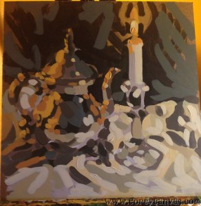 Sometimes the underpainting is interesting in itself, but I don't have any goddam brakes, so, you know...
