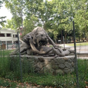 This is one of the most ridiculous sculptures I've come across... Go on, zoom in. It's a tiger battling a snake over the body of a camel. I think it was fenced off for the good of the public.